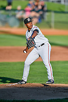 Billings Mustangs starting pitcher Moises Nova (67) delivers a pitch to the plate against the Ogden Raptors in Pioneer League action at Lindquist Field on August 12, 2016 in Ogden, Utah. Billings defeated Ogden 7-6.(Stephen Smith/Four Seam Images)