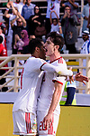 Sardar Azmoun of Iran (R) celebrates scoring the team's first goal with teammate Vahid Amiri during the AFC Asian Cup UAE 2019 Group D match between Vietnam (VIE) and I.R. Iran (IRN) at Al Nahyan Stadium on 12 January 2019 in Abu Dhabi, United Arab Emirates. Photo by Marcio Rodrigo Machado / Power Sport Images