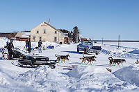 Pete Kaiser leaves the Nulato checkpoint on Saturday March 12th during the 2016 Iditarod.  Alaska    <br /> <br /> Photo by Jeff Schultz (C) 2016  ALL RIGHTS RESERVED