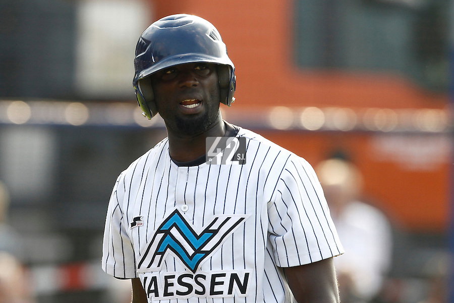 03 September 2011: Jefferson Muzo of the Vaessen Pioniers is seen during game 1 of the 2011 Holland Series won 5-4 in inning number 14 by L&D Amsterdam Pirates over Vaessen Pioniers, in Hoofddorp, Netherlands.