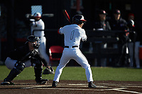 Gehrig Octavio (1) of the North Greenville Crusaders at bat against the Bellarmine Knights at Ashmore Park on February 7, 2020 in Tigerville, South Carolina. The Crusaders defeated the Knights 10-2. (Brian Westerholt/Four Seam Images)