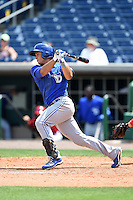 Dunedin Blue Jays second baseman Christian Lopes (14) during a game against the Clearwater Threshers on April 6, 2014 at Bright House Field in Clearwater, Florida.  Dunedin defeated Clearwater 5-2.  (Mike Janes/Four Seam Images)