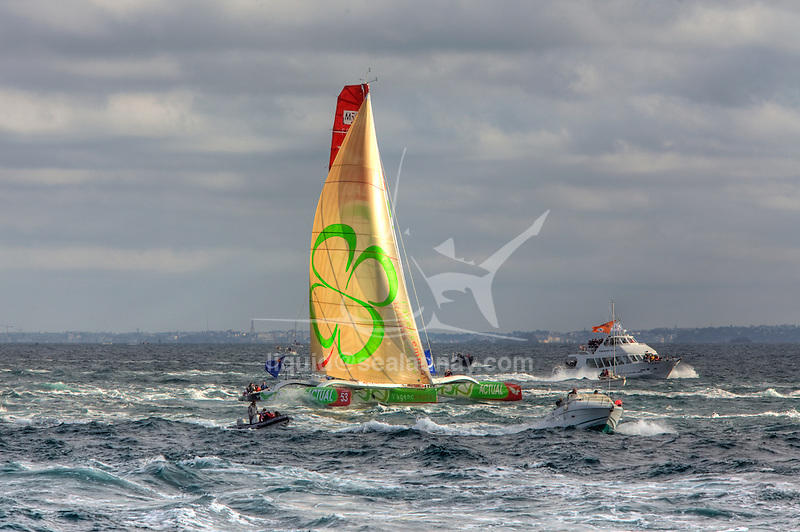 Actual at the start of the Route du Rhum La Banque Postale 2010..The Route du Rhum is a transatlantic single-handed yacht race, which takes places every 4 years in November. The course is between Saint Malo, Brittany, France and Pointe-à-Pitre, Guadeloupe.