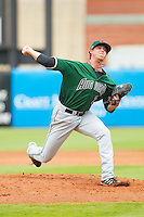 Augusta GreenJackets relief pitcher Jake Dunnington (31) in action against the Greensboro Grasshoppers at NewBridge Bank Park on August 11, 2013 in Greensboro, North Carolina.  The GreenJackets defeated the Grasshoppers 6-5 in game one of a double-header.  (Brian Westerholt/Four Seam Images)