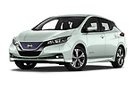 Stock pictures of low aggressive front three quarter view of a 2018 Nissan Leaf N Connecta 5 Door Hatchback