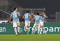 Football, Serie A: S.S. Lazio - Juventus Olympic stadium, Rome, December 7, 2019. <br /> Lazio's Sergej Milinkovic-Savic (second from right) celebrates after scoring with his teammates during the Italian Serie A football match between S.S. Lazio and Juventus at Rome's Olympic stadium, Rome on December 7, 2019.<br /> UPDATE IMAGES PRESS/Isabella Bonotto