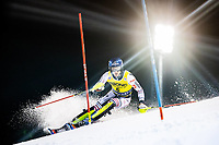 22nd December 2020, Madonna di Campiglio, Italy; FIS Mens slalom world cup race;  Clement Noel of France in action during his 1st run of mens Slalom of FIS ski alpine world cup