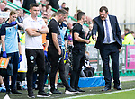 Hibs v St Johnstone….24.08.19      Easter Road     SPFL <br />Saints manager Tommy Wright talks with 4th official Nick Walsh after Hibs keeper Ofic Marciano was only shown a yellow card for taking out Michael O'Halloran<br />Picture by Graeme Hart. <br />Copyright Perthshire Picture Agency<br />Tel: 01738 623350  Mobile: 07990 594431