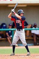 Spencer Edwards #3 of AABC at bat against Dixie at the 2011 Tournament of Stars at the USA Baseball National Training Center on June 25, 2011 in Cary, North Carolina.  The AABC defeated Dixie 4-2.  (Brian Westerholt/Four Seam Images)