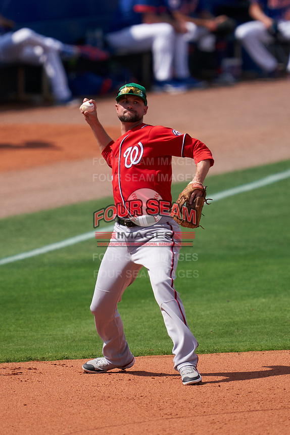 Washington Nationals third baseman Jordy Mercer (27) during a Major League Spring Training game against the New York Mets on March 18, 2021 at Clover Park in St. Lucie, Florida.  (Mike Janes/Four Seam Images)
