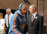 Ashley Williams of Swansea City  arrives at the Stadium of Light before kick off during the Barclays Premier League match between Sunderland and Swansea City played at Stadium of Light, Sunderland