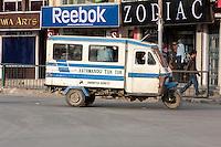 Nepal, Kathmandu.  Tuk-tuk Taxi, a Three-wheeled Vehicle.