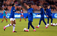 HOUSTON, TX - JANUARY 31: Lynn Williams #13 and Christen Press #20 of the United States warm up during a game between Panama and USWNT at BBVA Stadium on January 31, 2020 in Houston, Texas.