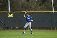 Indiana State Sycamores outfielder Seth Gergely (15) catches a fly ball during the teams opening game of the season against the Pitt Panthers on February 19, 2021 at North Charlotte Regional Park in Port Charlotte, Florida.  (Mike Janes/Four Seam Images)