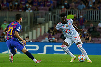 14th September 2021; Nou Camp, Barcelona, Spain; UEFA Champions league, FC Barcelona versus Bayern;    Davies of Bayern takes on Demir