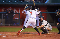 Lansing Lugnuts DJ Neal (7) at bat during a Midwest League game against the Wisconsin Timber Rattlers at Cooley Law School Stadium on May 2, 2019 in Lansing, Michigan. Lansing defeated Wisconsin 10-4. (Zachary Lucy/Four Seam Images)