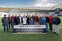 Match sponsors with Lee Trundle during the Sky Bet Championship match between Swansea City and Wigan Athletic at the Liberty Stadium, Swansea, Wales, UK. Saturday 19 January 2020