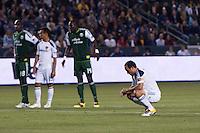 LA Galaxy captain Landon Donovan (10) contemplates his PK. The LA Galaxy defeated the Portland Timbers 3-0 at Home Depot Center stadium in Carson, California on  April  23, 2011....