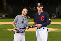 Mesa Solar Sox Bradley Zimmer (7), of the Cleveland Indians organization, is presented with the American League first place trophy bat from Zinger by Josh Michalsen during the Bowman Hitting Challenge on October 8, 2016 at the Salt River Fields at Talking Stick in Scottsdale, Arizona.  (Mike Janes/Four Seam Images)