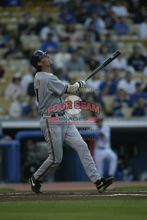 Richie Sexson of the Milwaukee Brewers during a 2003 season MLB game at Dodger Stadium in Los Angeles, California. (Larry Goren/Four Seam Images)
