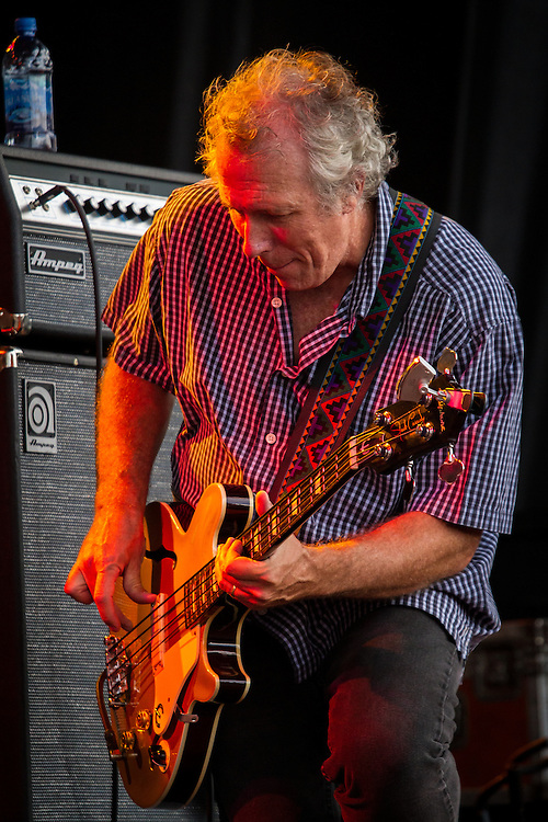 Bass Player with the Rodney Crowell Band plays the Red Ants Pants Festival