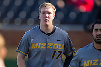 Josh Lester (17) of the Missouri Tigers returns to the dugout after scoring a run against the Radford Highlanders at Wake Forest Baseball Park on February 21, 2014 in Winston-Salem, North Carolina.  The Tigers defeated the Highlanders 15-3.  (Brian Westerholt/Four Seam Images)