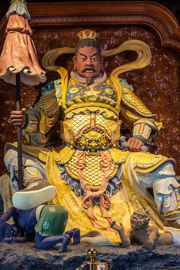 Nanjing, Jiangsu, China.   Niushou Mountain Buddhist Ashram.  Duo Wen Tianwang, Chief of the four heavenly kings, and King of the North.