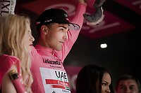 Maglia Rosa / overall leader Valerio Conti (ITA/UAE-Emirates) will stay another day in pink<br /> <br /> Stage 7: Vasto to L'Aquila (180km)<br /> 102nd Giro d'Italia 2019<br /> <br /> ©kramon