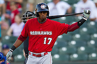 Oklahoma City RedHawks second baseman Jimmy Paredes #17 during the Pacific Coast League baseball game against the Round Rock Express on June 15, 2012 at the Dell Diamond in Round Rock, Texas. The Express shutout the RedHawks 2-1. (Andrew Woolley/Four Seam Images).