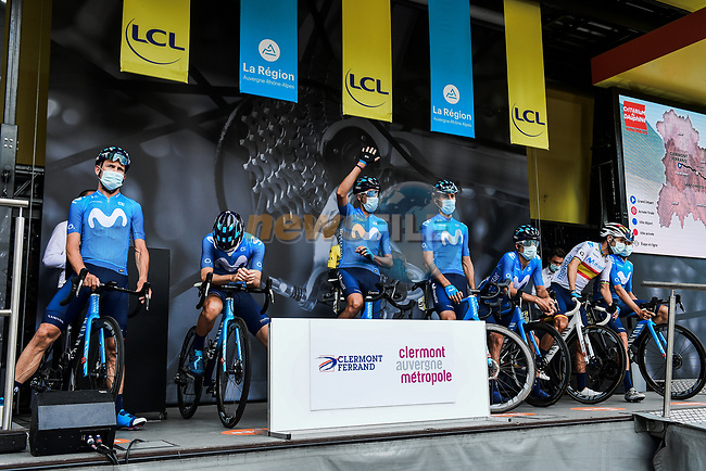 Movistar Team at the Team Presentation before the start of Stage 1 of Criterium du Dauphine 2020, running 218.5km from Clermont-Ferrand to Saint-Christo-en-Jarez, France. 12th August 2020.<br /> Picture: ASO/Alex Broadway   Cyclefile<br /> All photos usage must carry mandatory copyright credit (© Cyclefile   ASO/Alex Broadway)
