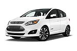 Stock pictures of low aggressive front three quarter view of a 2018 Ford C-Max Hybrid Titanium 5 Door Mini Van