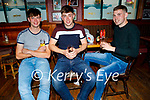 Enjoying the evening in the White Sands in Ballyheigue on Sunday, l to r: Darren Quirke, Johnny Ryan and Gerard Carroll.