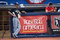 Steve Bernhardt (left), Executive VP of Baseball Operations at Baseball Factory watches during the Under Armour All-American Game practice on August 14, 2015 at Les Miller Field in Chicago, Illinois. (Mike Janes/Four Seam Images)