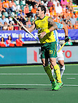 The Hague, Netherlands, June 13: Kieran Govers #27 of Australia celebrates after scoring a penalty corner for leading the match 1-0 during the field hockey semi-final match (Men) between Australia and Argentina on June 13, 2014 during the World Cup 2014 at Kyocera Stadium in The Hague, Netherlands. Final score 5-1 (3-0)  (Photo by Dirk Markgraf / www.265-images.com) *** Local caption ***