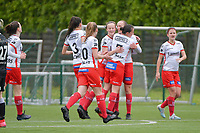 Zulte players celebrate the goal of Ella Vierendeels (4) of Zulte-Waregem from penalty during a female soccer game between SV Zulte - Waregem and Eendracht Aalst on the 9 th matchday in play off 2 of the 2020 - 2021 season of Belgian Scooore Womens Super League , saturday 22 nd of May 2021  in Zulte , Belgium . PHOTO SPORTPIX.BE | SPP | DIRK VUYLSTEKE