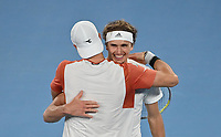 5th February 2021; Melbourne, Australia;   Australian Open 2021 ATP, Tennis Mens Cup Melbourne German Team beats Serbia to qualify for the Semifinal against Russia Jan Lennard Struff, Alexander Struff , Kevin Krawietz ,Andreas Mies and Team Captain Mischa Zverev