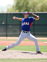 Nick McBride of the Texas Rangers plays in an extended spring training game against the Los Angeles Dodgers at the Rangers minor league complex on May 7, 2011  in Surprise, Arizona. .Photo by:  Bill Mitchell/Four Seam Images.