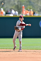 South Carolina Gamecocks second baseman LT Tolbert (11) throws to first base during a game against the Tennessee Volunteers at Lindsey Nelson Stadium on March 18, 2017 in Knoxville, Tennessee. The Gamecocks defeated Volunteers 6-5. (Tony Farlow/Four Seam Images)