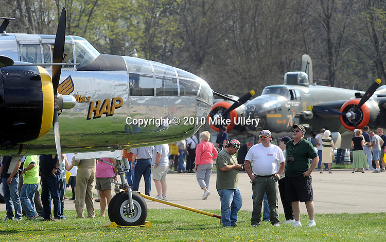 B-25 Mitchells begin arriving at Grimes Airport in Urbana, Ohio on April 15, 2010, in preparation for events at the National Museum of the United States Air Force, in Dayton, to commemorate the 68th anniversary of the Doolittle Tokyo Raiders mission during World War II.