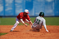 Bradley Braves shortstop Luke Shadid (10) tags Matt Feinstein (23) out during a game against the Dartmouth Big Green on March 21, 2019 at Chain of Lakes Stadium in Winter Haven, Florida.  Bradley defeated Dartmouth 6-3.  (Mike Janes/Four Seam Images)