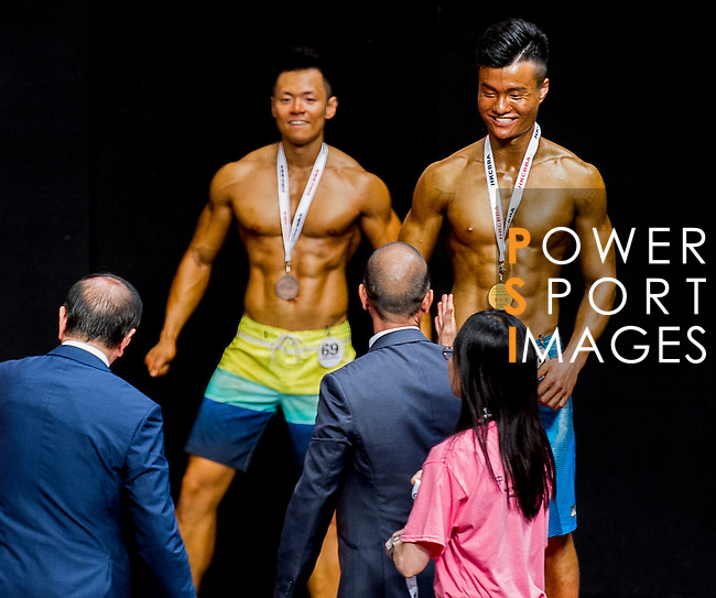 Winners of the Men's Sport Physique 180cm or above (Group D) category during the 2016 Hong Kong Bodybuilding Championships on 12 June 2016 at Queen Elizabeth Stadium, Hong Kong, China. Photo by Lucas Schifres / Power Sport Images