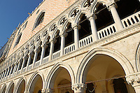 The 14th Century Gothic style eastern facade of The Doge's Palace on St Marks Square, Palazzo Ducale, Venice Italy