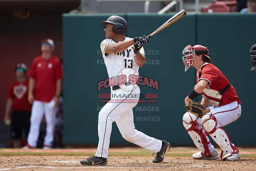 Anfernee Crompton (13) of the Army Black Knights follows through on his swing against the North Carolina State Wolfpack at Doak Field at Dail Park on June 3, 2018 in Raleigh, North Carolina. The Wolfpack defeated the Black Knights 11-1. (Brian Westerholt/Four Seam Images)