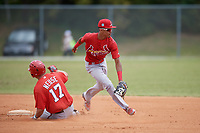 St. Louis Cardinals Delvin Perez (7) fields a throw as Sheldon Neuse (17) slides in during a minor league Spring Training game against the Washington Nationals on March 27, 2017 at the Roger Dean Stadium Complex in Jupiter, Florida.  (Mike Janes/Four Seam Images)