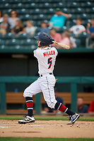 Jacksonville Jumbo Shrimp Brian Miller (5) at bat during a Southern League game against the Mobile BayBears on May 28, 2019 at Baseball Grounds of Jacksonville in Jacksonville, Florida.  Mobile defeated Jacksonville 2-1.  (Mike Janes/Four Seam Images)