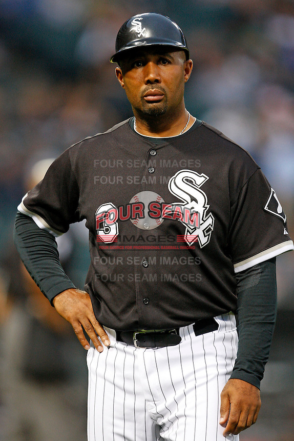 August 7, 2009:  First Base Coach Harold Baines looks to the crowd during a game vs. the Cleveland Indians at U.S. Cellular Field in Chicago, IL.  The Indians defeated the White Sox 6-2.  Photo By Mike Janes/Four Seam Images
