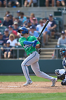 Hartford Yard Goats Sean Bouchard (7) bats during a game against the Somerset Patriots on September 12, 2021 at TD Bank Ballpark in Bridgewater, New Jersey.  (Mike Janes/Four Seam Images)