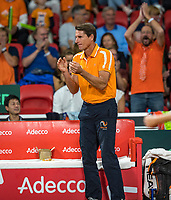The Hague, The Netherlands, September 15, 2017,  Sportcampus , Davis Cup Netherlands - Chech Republic, Dutch Captain Paul Haarhuis supports<br /> Photo: Tennisimages/Henk Koster