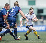 King's College at UQ (in white) defeats UBB Gavekal (in blue) 19 to 0 during Day 1 (Pool C) of GFI HKFC Rugby Tens 2016 on 06 April 2016 at Hong Kong Football Club in Hong Kong, China. Photo by Juan Manuel Serrano / Power Sport Images