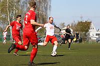 Nick Hölzel (Büttelborn) erzielt das 1:0 - 07.04.2019: SKV Büttelborn vs. TSV Lengfeld, Gruppenliga Darmstadt